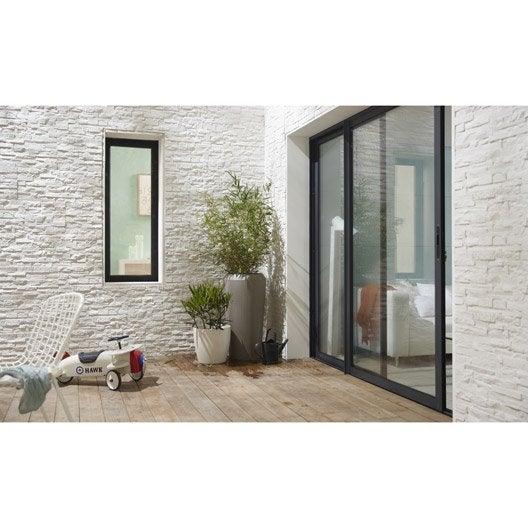 baie vitrée aluminium gris brico essentiel h.215 x l.240 cm