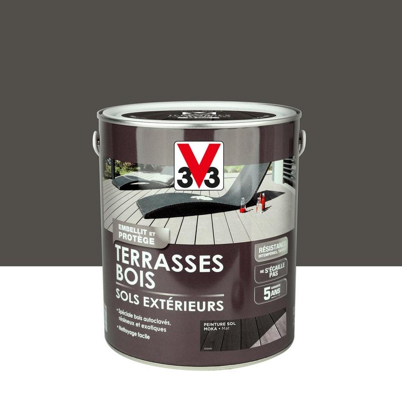Peinture Sol Exterieur Terrasse Bois V33 Moka Mat 2 5 L Leroy Merlin