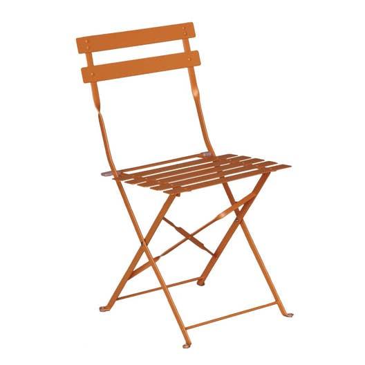 chaise de jardin en acier flore orange