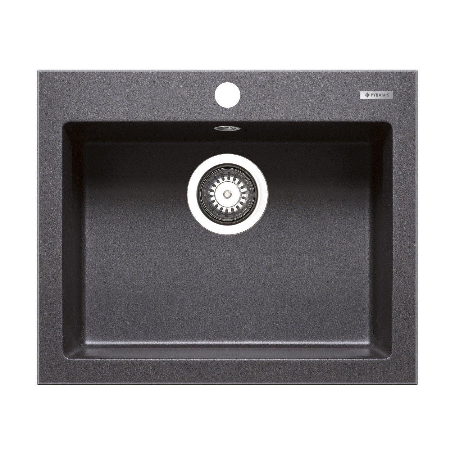 evier encastrer granit et r sine noir tetragon 1 cuve leroy merlin. Black Bedroom Furniture Sets. Home Design Ideas
