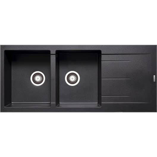 evier encastrer granit et r sine noir alazia 2 bacs avec gouttoir leroy merlin. Black Bedroom Furniture Sets. Home Design Ideas