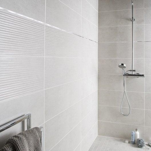 Fa ence mur blanc mineral d cor live x cm for Faience mur blanc