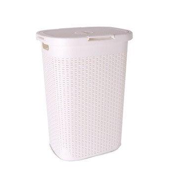 Panier à linge plastique Cottage, blanc, l.35.2 x H.62.6 x P.45.3 cm