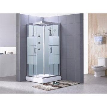 Cabine de douche carré 80x80 cm, Optima2 blanche