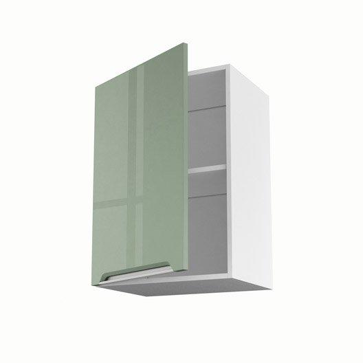 Meuble de cuisine haut vert 1 porte milano x x p for Meuble 70 cm de haut