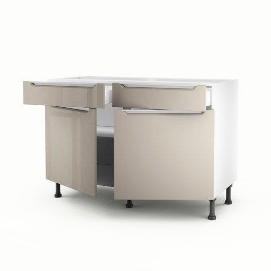 Meuble de cuisine bas taupe 2 portes 2 tiroirs milano h - Meuble bas cuisine 120 ...