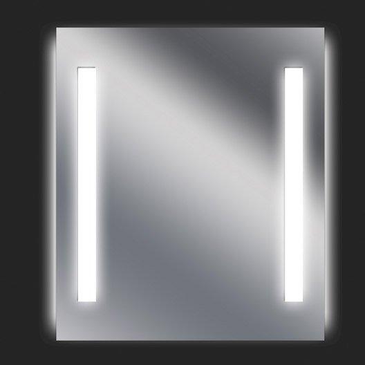 Miroir lumineux avec clairage int gr x cm ayo - Miroir salle de bain lumineux avec prise de courant ...
