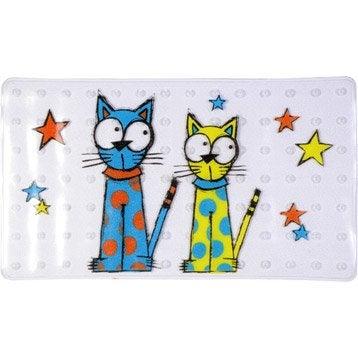 Tapis antidérapant transparent pour baignoire, Chat étoiles