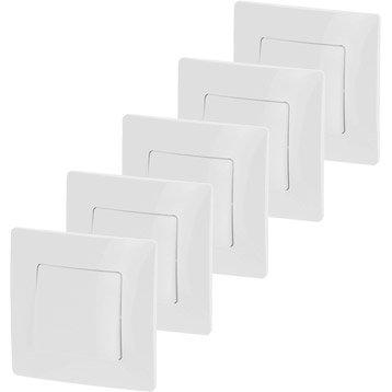 Lot de 5 interrupteurs va-et-vient Niloé, blanc, LEGRAND