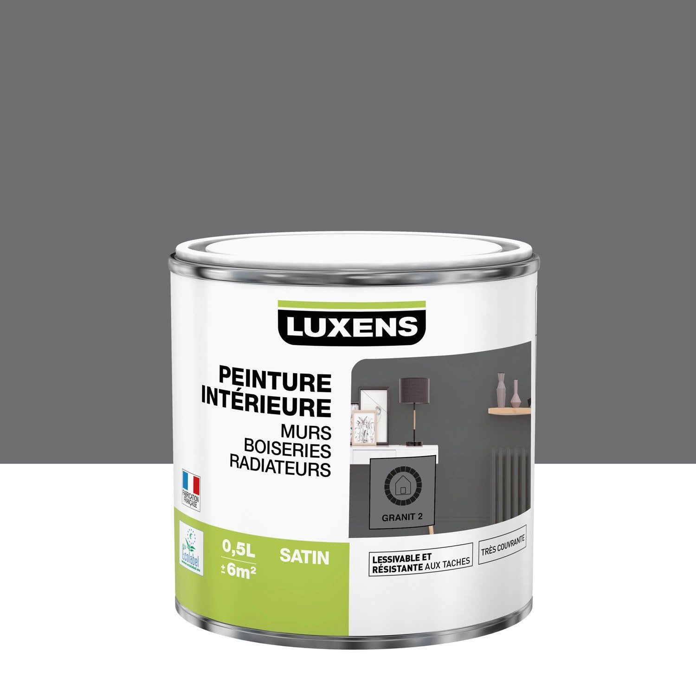 Peinture mur, boiserie, radiateur Multisupports LUXENS, granit 2, 0.5 l, satin