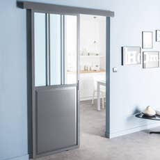 porte coulissante aluminium gris fonc verre tremp atelier artens 204 x 73 cm leroy merlin. Black Bedroom Furniture Sets. Home Design Ideas