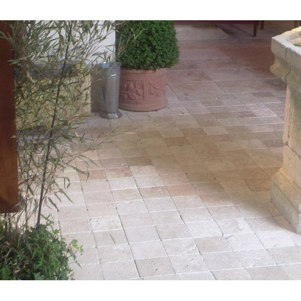 Pavé pierre naturelle Travertin, beige/marron L.10 cm x l.10 cm x Ep.40 mm