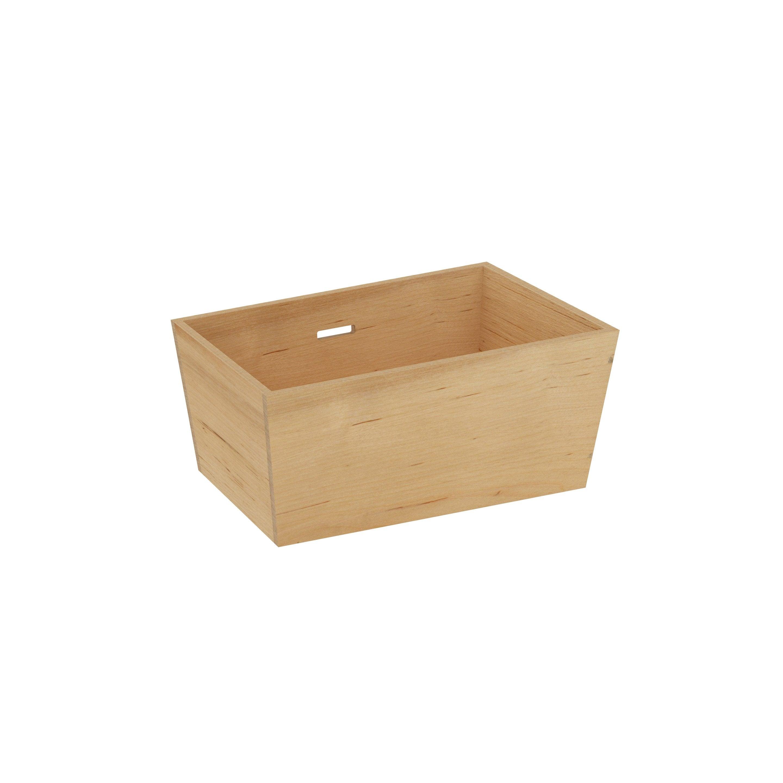 Boîte s bois DELINIA beige H.6.7 x l.10 x P.10 cm