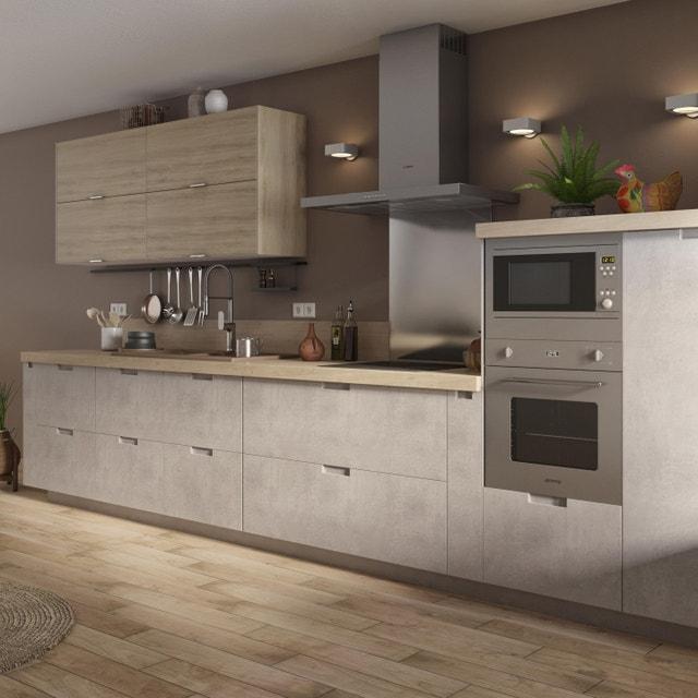 Cuisine avec du bois pour les meubles haut et aspect b ton - Modele cuisine equipee leroy merlin ...