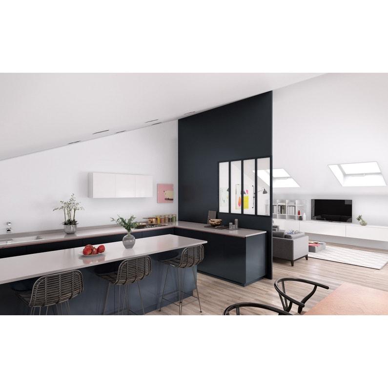 Verrière Atelier noir mat 4 carreaux en aluminium, H.130 x l.123 cm