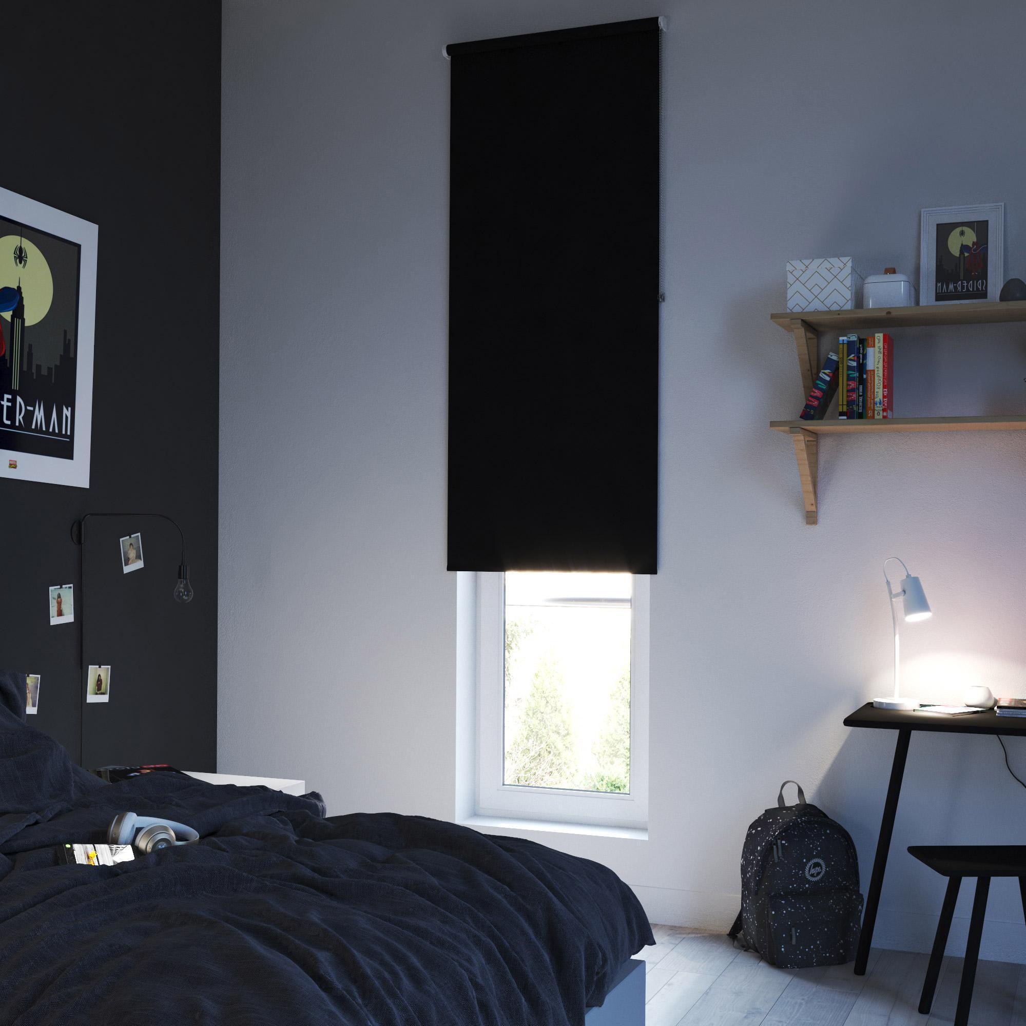 Store enrouleur occultant, noir Séoul, l.75 x 250 cm