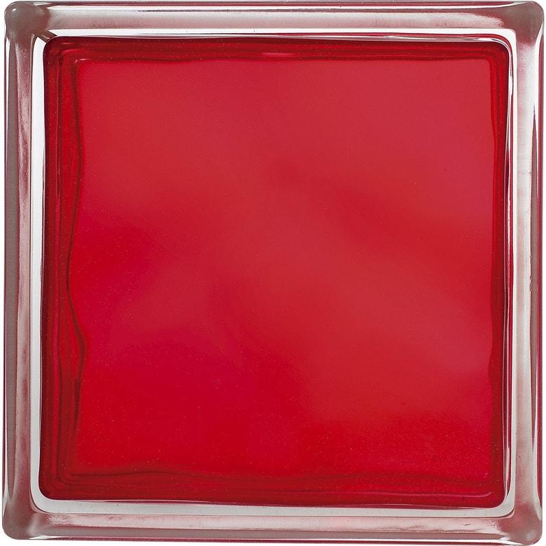 Brique De Verre Rouge Ondulé Brillant