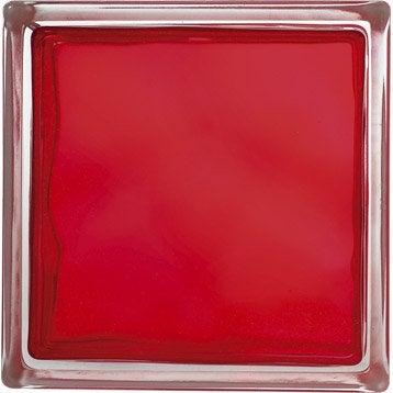 Brique de verre, rouge ondulé brillant