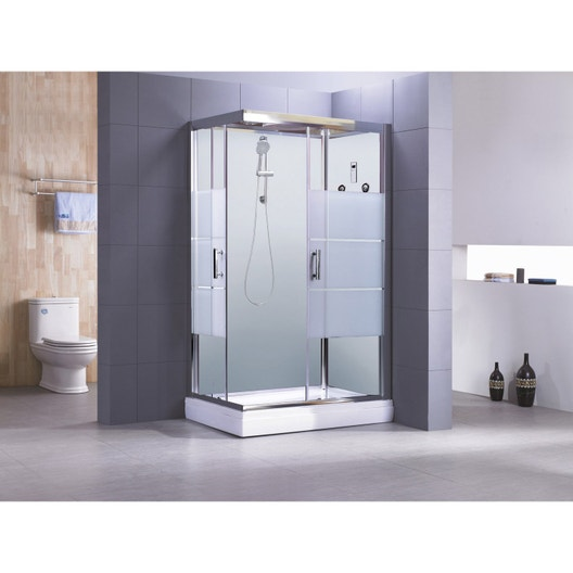 Cabine de douche rectangulaire 120x80 cm, Optima2 blanche | Leroy Merlin