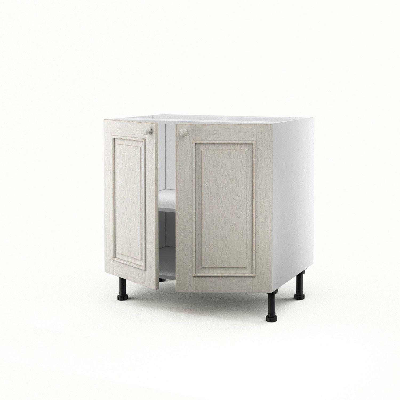 meuble de cuisine bas blanc 2 portes cosy x x cm leroy merlin. Black Bedroom Furniture Sets. Home Design Ideas