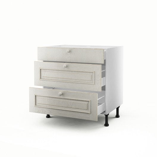 meuble de cuisine bas blanc 3 tiroirs cosy x x p. Black Bedroom Furniture Sets. Home Design Ideas