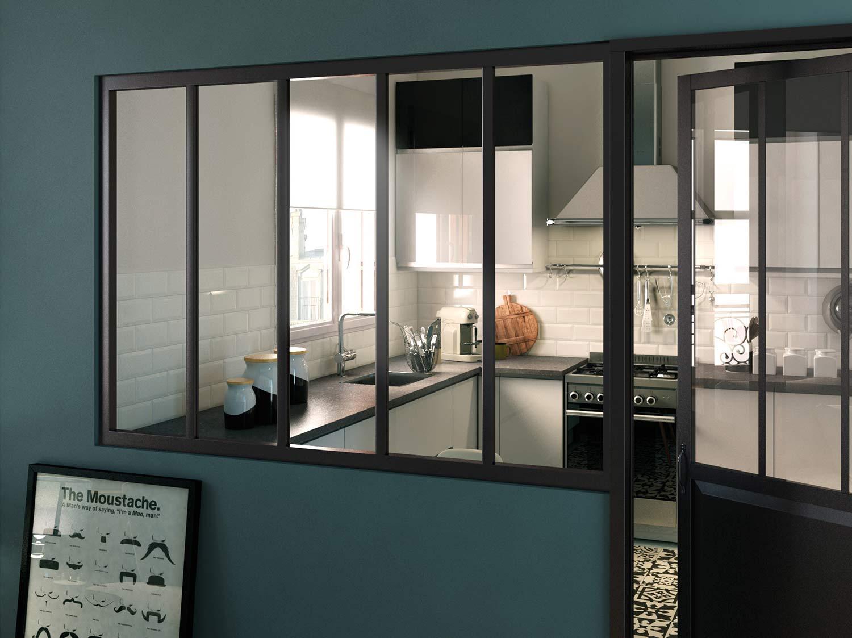 une porte vitr e coulissante anthracite pour un style atelier leroy merlin. Black Bedroom Furniture Sets. Home Design Ideas