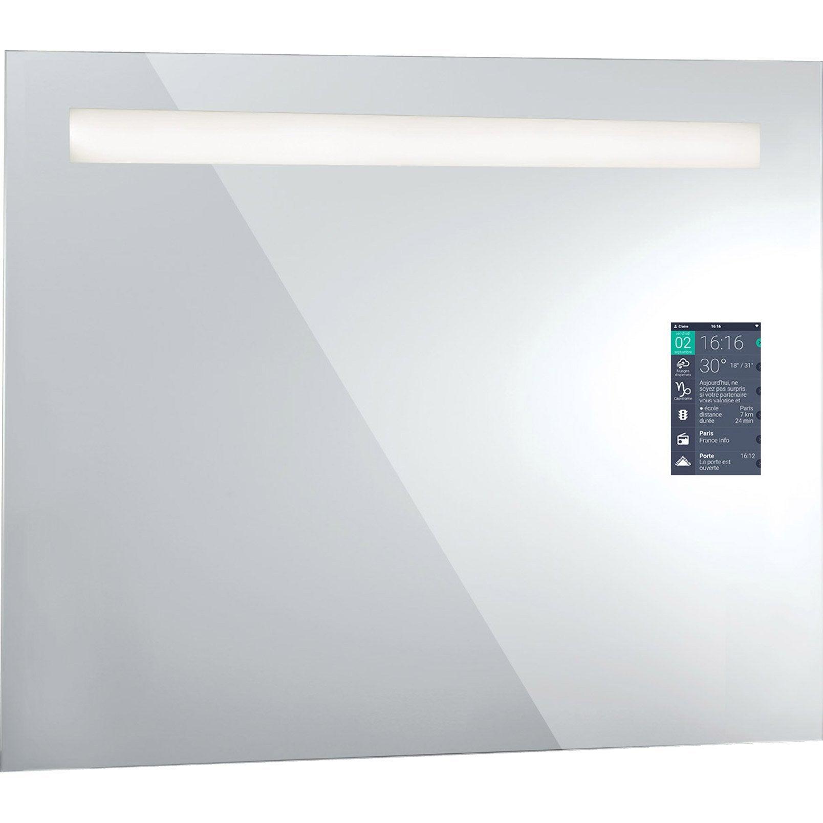 Miroir Lumineux Avec éclairage Intégré, L.90 X H.75 Cm Miralite Connect ...