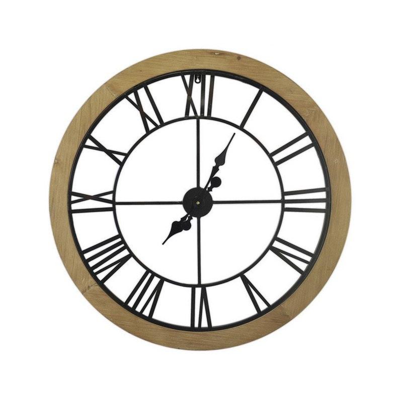 Horloge Métal Rond Bois Et Métal Noir Diam80 Cm