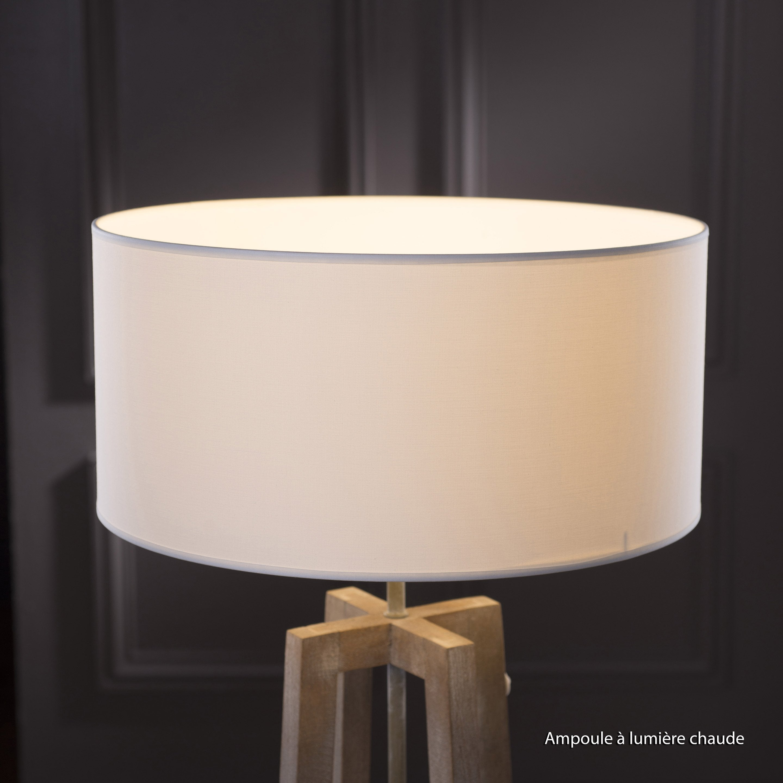 Abat-jour Tube, 40 cm, toiline, blanc-blanc n°0 INSPIRE