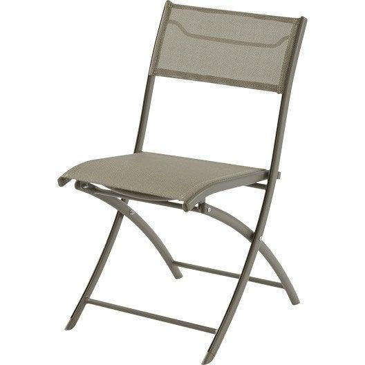 Chaise de jardin en aluminium cappuccino leroy merlin - Chaise aluminium jardin ...