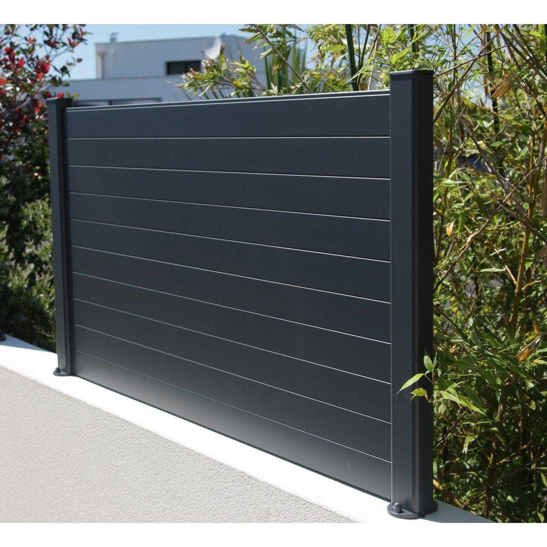 Cl ture composer aluminium naterial gris leroy merlin for Cloture jardin gris anthracite