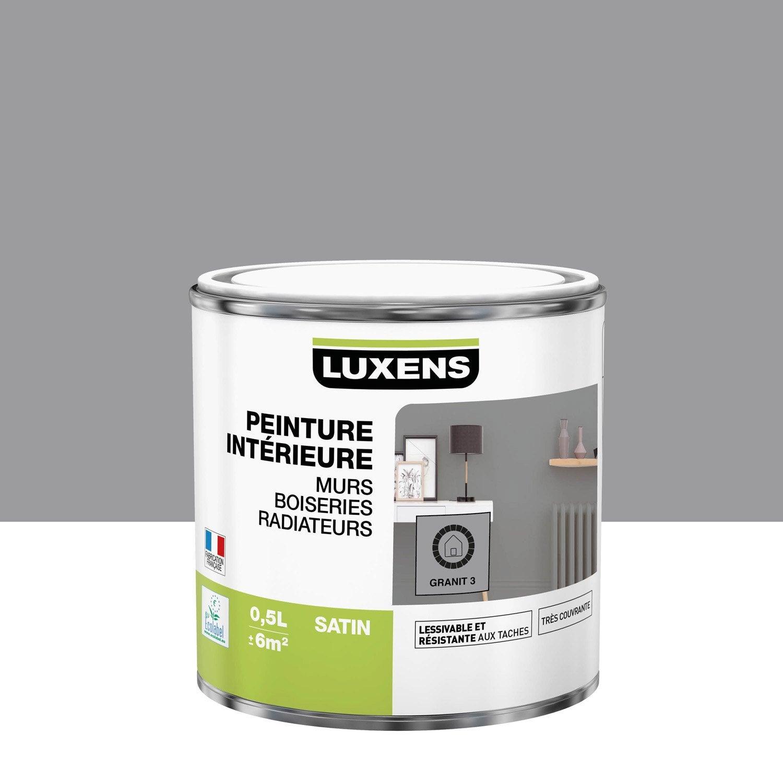 Peinture mur, boiserie, radiateur Multisupports LUXENS, granit 3, 0.5 l, satin