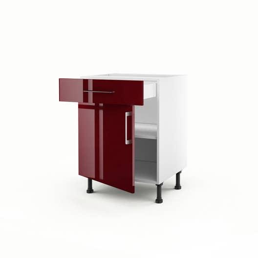 meuble de cuisine bas rouge 1 porte 1 tiroir griotte h70 x l60 x p56 cm