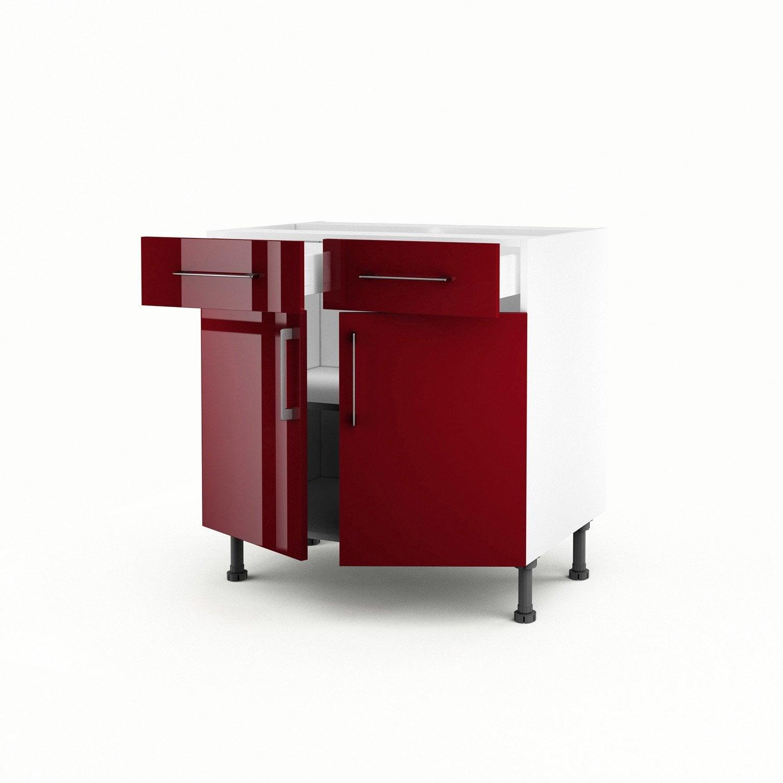 Meuble De Cuisine Bas Rouge 2 Portes + 2 Tiroirs Griotte H.70 X L