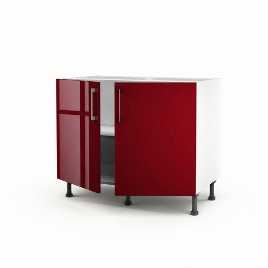 Meuble de cuisine bas rouge 2 portes griotte x for Meuble cuisine hauteur 70 cm