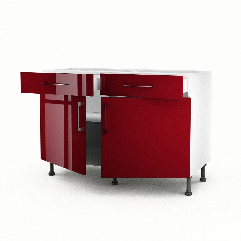 Meuble de cuisine bas rouge 2 portes 2 tiroirs griotte h for Meuble cuisine 2 portes