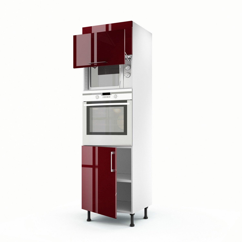 Meuble de cuisine colonne rouge 3 portes griotte x l - Meuble cuisine 3 portes ...