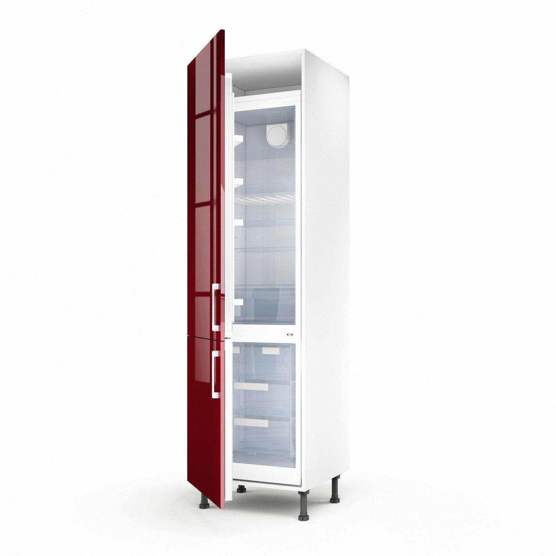 Meuble de cuisine colonne rouge 2 portes griotte x l - Meuble colonne cuisine 60 cm ...