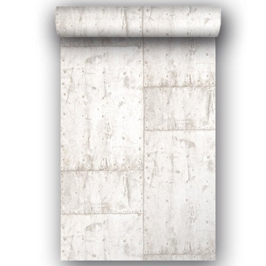 Papier peint intiss metal blanc leroy merlin for Coller du papier peint intisse