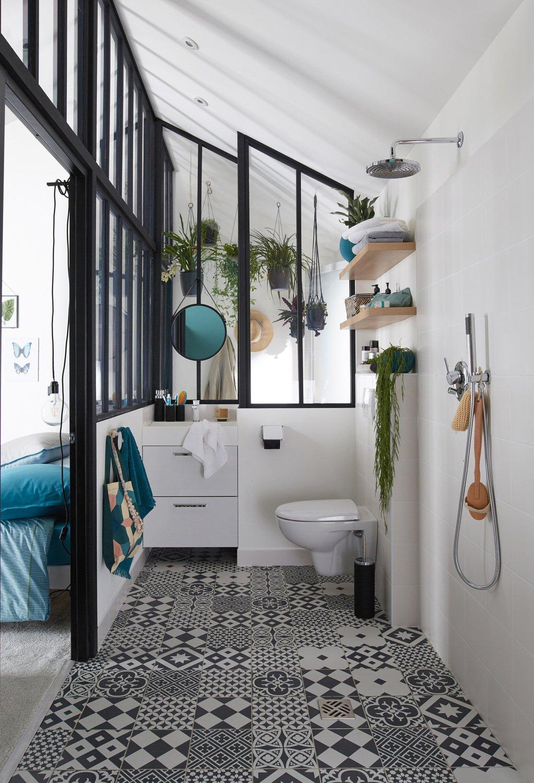 Des wc dans une salle de bains au style vintage leroy merlin - Salle de bain style ...