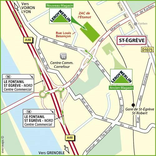 Plan d'accès au magasin Leroy Merlin de Vourles
