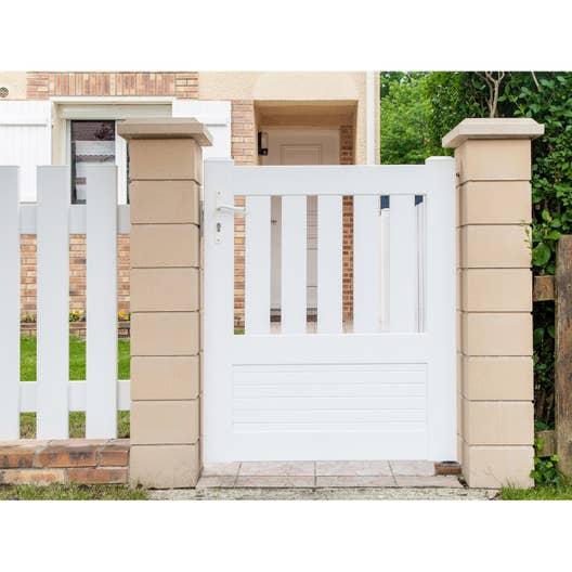 Portillon battant naterial plescop x cm blanc leroy merlin - Portillon jardin bois ...