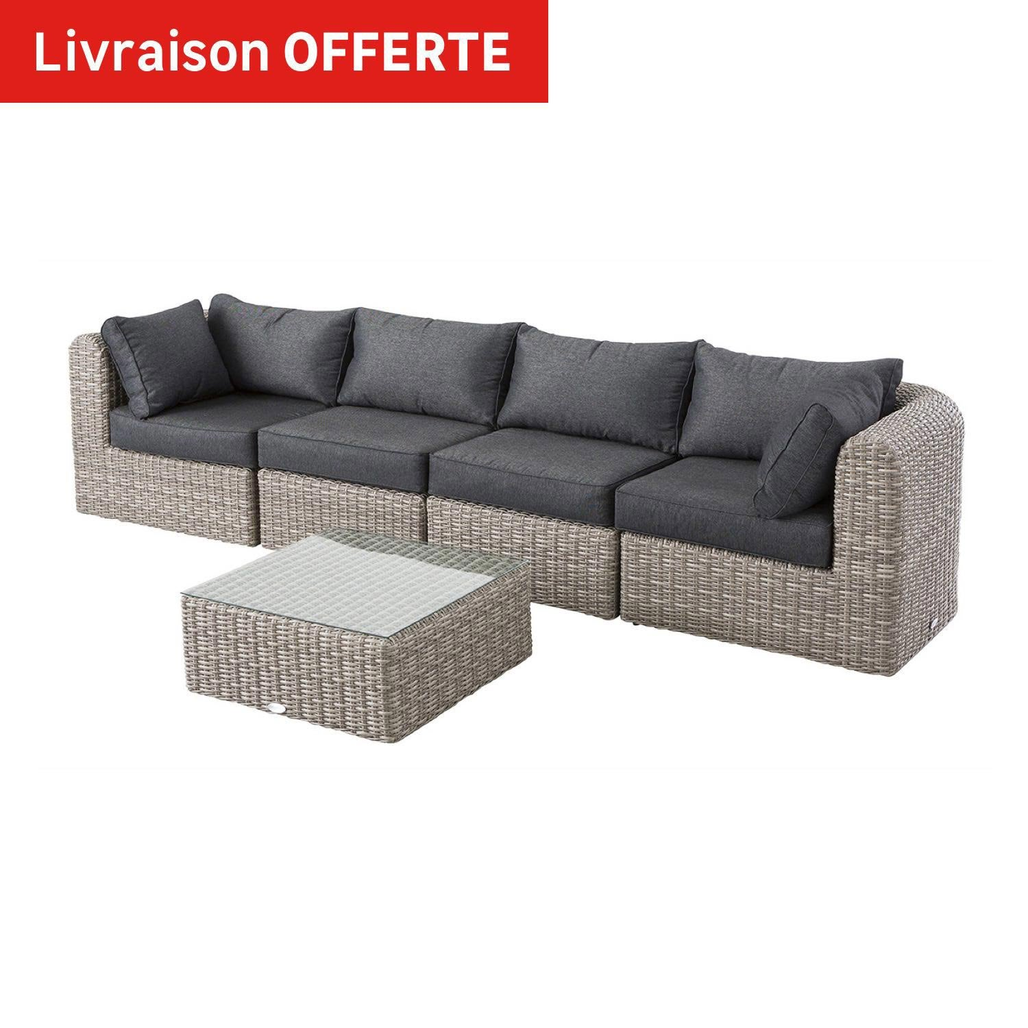 salon bas de jardin libertad taupe 5 personnes leroy merlin. Black Bedroom Furniture Sets. Home Design Ideas