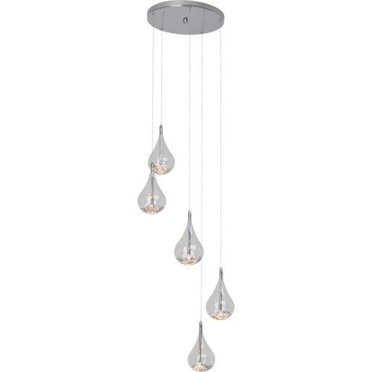 suspension moderne maira verre gris 5 x 20 w brilliant. Black Bedroom Furniture Sets. Home Design Ideas