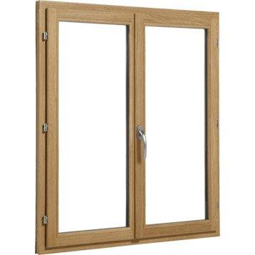 Fenêtre bois Brico essentiel 2 vantaux ouvrant à la française H.115 x l.140 cm