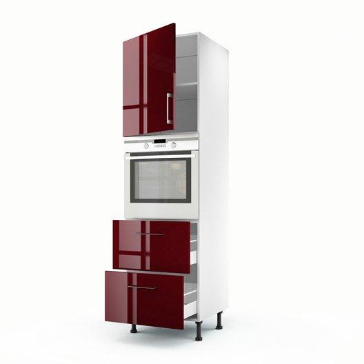 Colonne rouge 1 porte 2 tiroirs griotte x x p for Porte 60 x 200