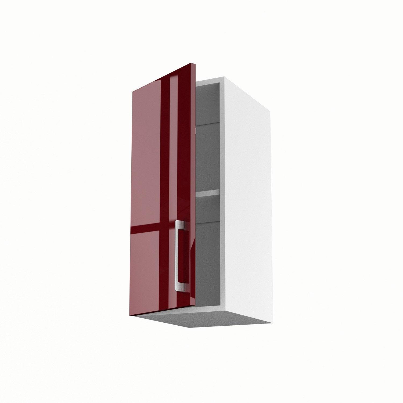Meuble de cuisine haut rouge 1 porte griotte x x for Meuble 70x30