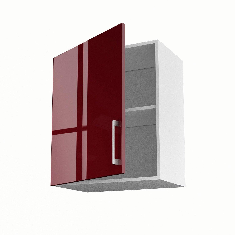 Meuble de cuisine haut rouge 1 porte griotte x x for Meuble cuisine profondeur 60