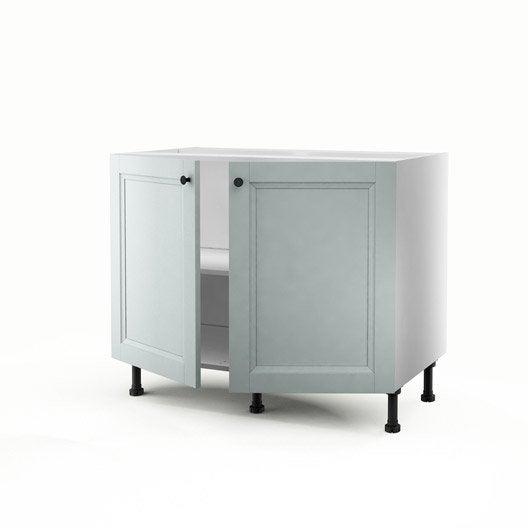 meuble de cuisine bas bleu 2 portes ashford h.70 x l.100 x p.56 cm