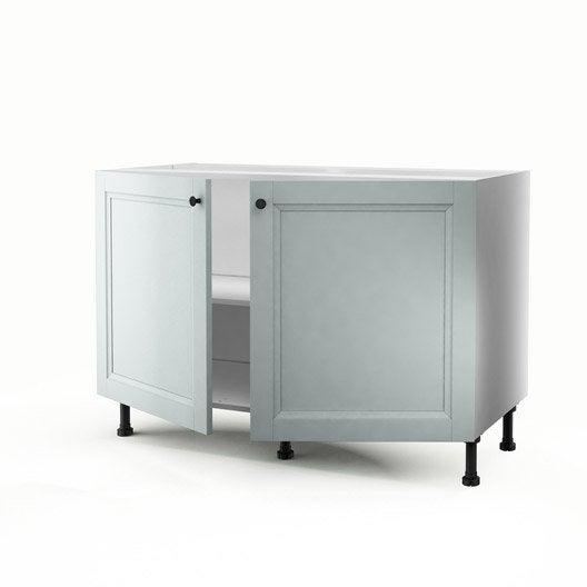 Meuble de cuisine sous vier bleu 2 portes ashford x for Evier 70 cm cuisine
